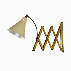 Lampada da parete regolabile in alluminio ed ottone, Italia, anni '50