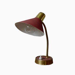 Lámpara en rojo y dorado, años 50
