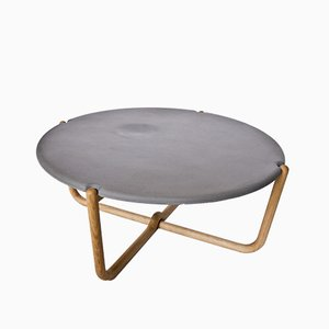 Concrete Kable Table with Wooden Frame in Oak from Florian Saul Design Development