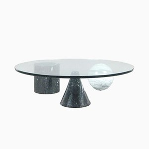 Round Metafora Coffee Table in Marble & Glass by Massimo & Lella Vignelli, 1980s