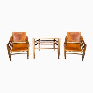 Chaises Safari & Table par Børge Mogensen pour Aage Bruun and Son, 1950s