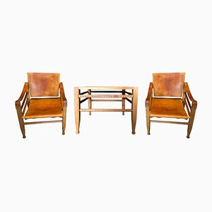 Safari Chairs and Table by Børge Mogensen for Aage Bruun and Son, 1950s