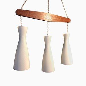 Lámpara colgante triple de Holmegaard, años 60
