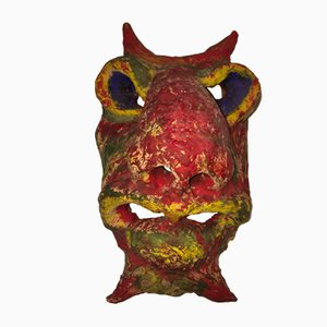 Painted Terracotta Mask by Angelo Meani, 1950s