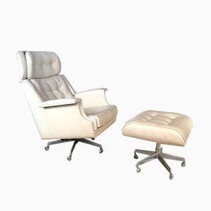 Sessel & Fußhocker aus gepolstertem Leder, 1960er