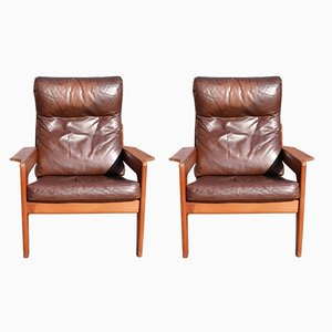 Teak Lounge Chairs with Leather Cushions by Arne Wahl Iversen for Komfort, 1978, Set of 2