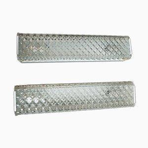 Apliques de cristal de Murano blanco, años 60. Juego de 2