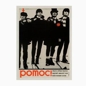 Póster checo de la película Help! de los Beatles de Radim Malát, 1967