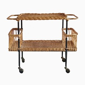 French Wicker Bar Cart, 1950s