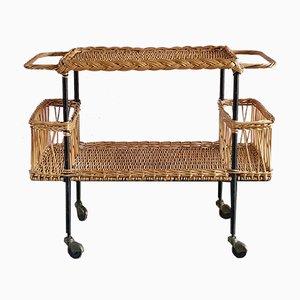 French Wicker Bar Cart, 1950s