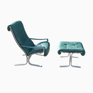 Blue-Green Siesta Chair with Stool by Ingmar Relling for Westnova, 1976