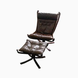 Brauner Falcon Chair mit Hocker von Sigurd Ressell für Vatne Møbler, 1976