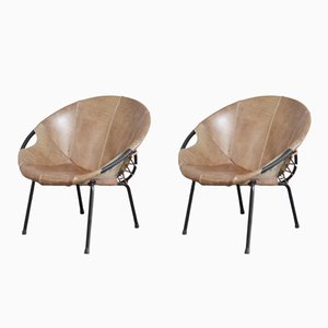 Vintage Circle Balloon Coctail Chairs by Lusch & Co, Set of 2
