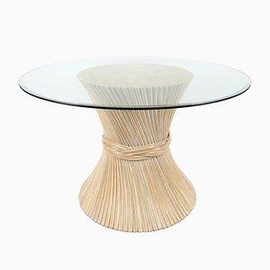 Mesa de comedor con gavilla de trigo de ratán, años 70