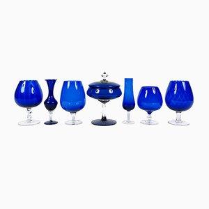 Verres Vintage Bleus, Set de 7