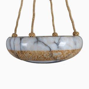 Lámpara de araña francesa de alabastro, años 20