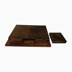 Italienisches Schreibtischset aus Nussholz & Wildleder mit Aschenbecher, 1960er