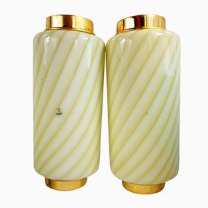 Brass and Murano Glass Wall Sconces, 1970s, Set of 2