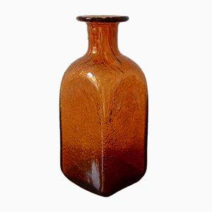 Jarrón danés vintage de vidrio soplado