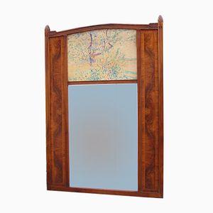 Art Deco Walnut Trumeau Mirror, 1930s