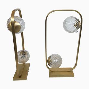 Tischlampen in mattem Gold mit Kugeln aus Muranoglas von Italian light design