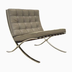 Grey Barcelona Chair by Mies van der Rohe for Knoll International, 1980s