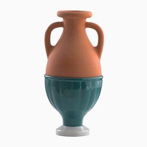 Mini #04 HYBRID Vase in dunklem Grün und Grau von Tal Batit