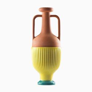 Jarrón #01 Medium HYBRID en turquesa y amarillo de Tal Batit