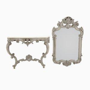 Consola sueca Rococó con espejo