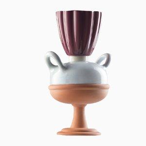 Mini #03 HYBRID Vase in Hellblau, Weiß & Kastanienbraun von Tal Batit