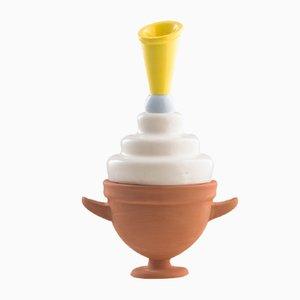 Vaso piccolo #02 HYBRID bianco, celeste e giallo di Tal Batit