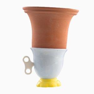 Vaso piccolo #01 HYBRID celeste, bianco e giallo di Tal Batit
