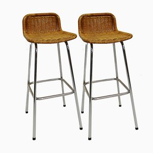 Vintage Wicker Bar Stools, Set of 2