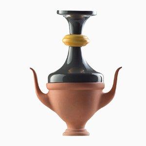 Vaso piccolo #07 HYBRID verde scuro e color senape di Tal Batit