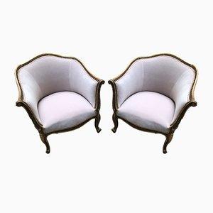 Antique Pink Velvet Armchairs, 1900s, Set of 2