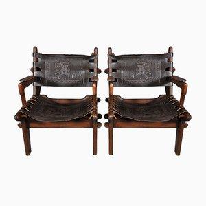 Armlehnstühle aus Teak & Leder von Angel I. Pazmino für Muebles de Estilo, 1970er, 2er Set