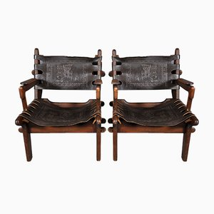 Teak and Leather Armchairs by Angel I. Pazmino for Muebles de Estilo, 1960s, Set of 2