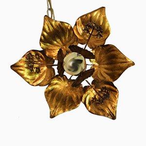 Vintage Gilded Brass Ceiling Lamp