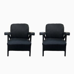 Mid-Century French Black Lounge Chairs, 1960s, Set of 2
