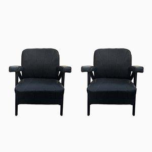 Schwarze französische Mid-Century Sessel, 1960er, 2er Set