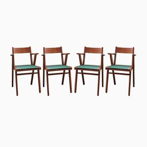 Vintage Wood & Plastic Dining Chairs, 1950s, Set of 4