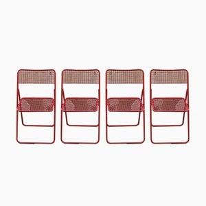 Sillas plegables Ted vintage en rojo de Niels Gammelgaard para Ikea. Juego de 4