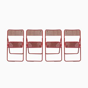 Vintage Folding Red Ted Chairs by Niels Gammelgaard for Ikea, Set of 4