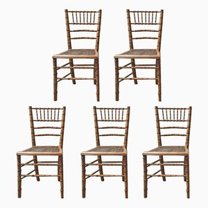 Antique French Bamboo Chairs, Set of 5