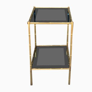 Vintage Brass & Tinted Glass Side Table from Maison Baguès, 1960s