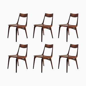 Boomerang Chairs in Teak by Alfred Christensen for Slagelse, 1950s, Set of 6