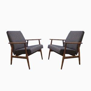 Dunkelgrauer Vintage Sessel von H. Lis, 1970er, 2er Set