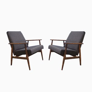 Vintage Dark Grey Lounge Chair by H. Lis, 1970s, Set of 2