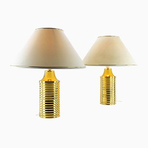 Golden Table Lamps, 1970s, Set of 2