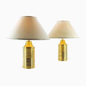 Goldene Tischlampen, 1970er, 2er Set